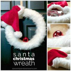 How adorable! Santa hat wreath http://spaceshipsandlaserbeams.com/blog/2015/11/party-crafts-and-diy/diy-christmas-wreath-ideas
