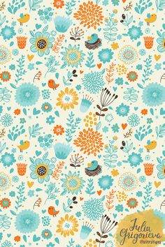 Cute seamless patterns with flowers, birds, butterflies. Nature retro backgrounds.