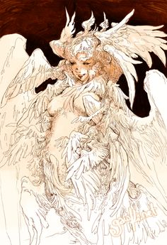 Serafin (Angel of the Sea) Always do it for the pun. 🖤 I colored an ink drawing from last year! Something a little more simple and not… Seraph Angel, Character Art, Character Design, Traditional Ink, Angels And Demons, Dark Art, Fantasy Art, Street Art, Moose Art
