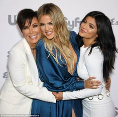 Mommy dearest: Khloe and Kylie were all smiles as they posed for photographs alongside mot...