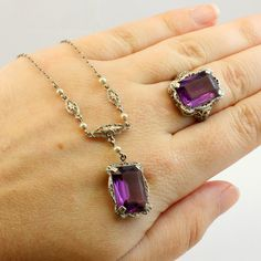 10K Antique Art Deco CT Amethyst Pearl Filigree Necklace AND Ring Set