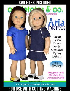 """Making this 18 inch doll pattern is """"sew"""" much easier with your Circut Maker is doing all the work cutting out the pattern pieces! The Aria Dress 18 inch doll pattern from Appletotes & Co. is a PDF pattern available for instant download so you can print and sew right away. PDF comes with easy to follow step-by-step instructions with color pictures to guide you all the way through this fun doll sewing project. Boho Summer Outfits, Spring Dresses Casual, Nice Dresses, Doll Sewing Patterns, Doll Clothes Patterns, Clothing Patterns, Pencil Shoes, American Girl Diy, Flora Dress"""