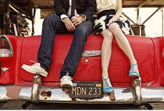 junkyard vintage car engagement session. better yet, save the date making the license plate the wedding date.