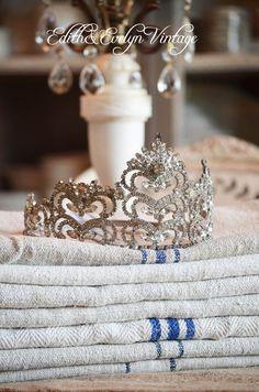 Stunning Vintage Crown Tiara Rhinestones by edithandevelyn on Etsy
