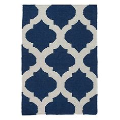 Blue and white rug for living room.