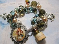 Alice in Wonderland Triple stand  altered art charm by Bostoncharm, $42.00