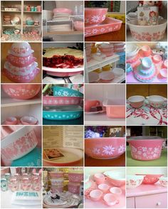 Vintage pyrex..pink and blue..yes please!