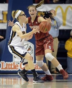 Chattanooga Lady Mocs Alicia Payne, left, is defended by Stanford's Karlie Samuelson (44)