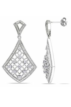 5/8 CT Created White Sapphire & Diamond Earrings In Silver
