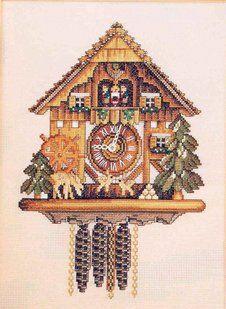 Solo Patrones Punto Cruz 1/4 Cuckoo Clock