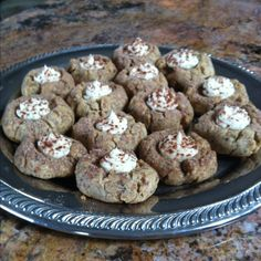 Tiramisu cookies--Almond and vanilla with mascarpone cream and cocoa topping