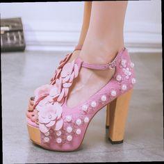 49.20$  Buy now - http://aliltj.worldwells.pw/go.php?t=32688486722 - Women's Applique Flower Evening Pumps Ladies Elegant Thick High Heel Open Toe Brand Design Genuine Leather Platform Heeled Shoes