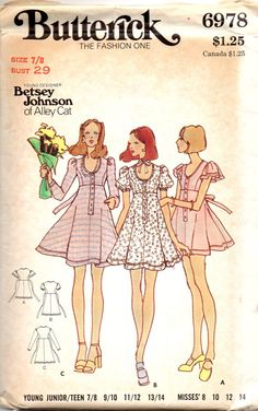 Butterick 6978 1970s BETSEY JOHNSON Junior Misses by mbchills