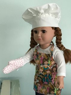 3 Pcs//lot Dress Apron Hat Chef Clothes Doll for s Dolls Toy P*US