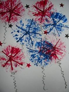 Remember #kooshballs? They make great #fireworks stamps. #painting #kids #art #artforkids #craftsforkids #independenceday #4thofjuly