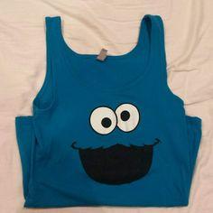 Blue tank Cookie monster tank top Tops Tank Tops