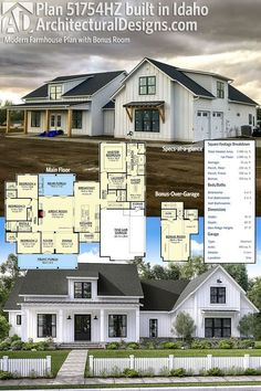 Architectural Designs Modern Farmhouse Plan 51754HZ coming to life in Idaho! The home has 4 beds (plus a bonus room over the garage with a full bath) and over 2,600 square feet of heated living space. Ready when you are. Where do YOU want to build?