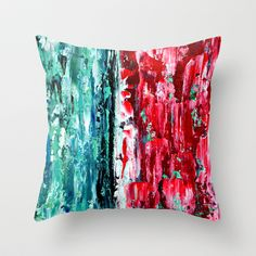 THROW PILLOWRed Blue Yellow Swirls colorful scatter cushion