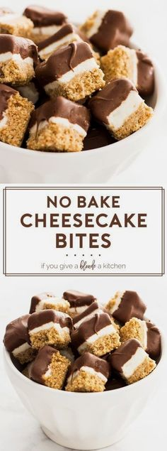 No bake cheesecake bites is an easy mini dessert recipe. The graham cracker crust and cheesecake filling is topped off with a chocolate coating. | www.ifyougiveablondeakitchen.com (no bake thanksgiving treats)