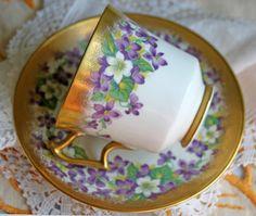 Porcelain Teacup Saucer Set . Royal Chelsea Hand Painted Violets Bone China…