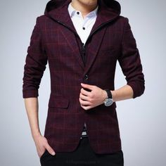 Casual High Quality Stripe Blazer with Detachable Hoodie | 81Supreme