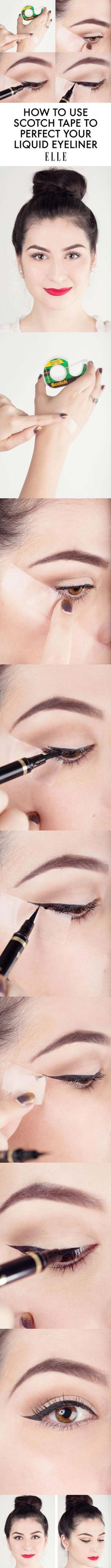 Beauty Hacks for Teens - Eyeliner Tape Trick - DIY Makeup Tips and Hacks for Skin, Hairstyles, Acne, Bras and Everything in Between - Pictures and Video Tutorials for Girls of All Shapes and Sizes Whether You're Fit or Want to Lose Weight - Get in Shape for Summer with These Awesome Ideas - thegoddess.com/beauty-hacks-teens