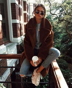 teddy bear coat + casual street style + fall jacket inspo