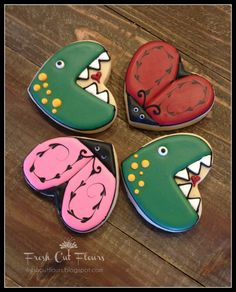 Love Bugs and Dinosaurs  Valentine's Day Hearts hand decorated sugar cookies on Etsy, $30.00
