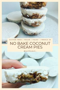 These No Bake Mini Lemon Coconut Pies make the perfect little healthy desserts! - These No Bake Mini Lemon Coconut Pies make the perfect little healthy desserts! Paleo Dessert, Dessert Sans Gluten, Bon Dessert, Paleo Sweets, Dessert Recipes, Gluten Free Desserts, No Bake Desserts, Vegan Gluten Free, Drink Recipes