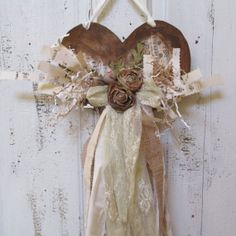 Shabby chic tattered heart wall hanging burlap by AnitaSperoDesign, $55.00