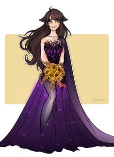 NEW HEADCANON for weddings in the World of Remnant: The bride's wedding dress is traditionally the color which they identify with, but their flower bouquet is the color their fiancé identifies with. I struggled a bit more with Blake's dress, but after I decided to use her purple and black color scheme as an excuse to add constellation-like sparkles I managed to find my peace with this one. Can you guess whose next? XD