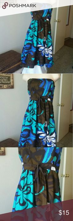 Strapless Summer Dress - The Limited Brown, blue, teal, & Black strapless dress. The dress is lined. Sz. 8 The Limited  Dresses Strapless