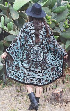 Gypset Medallion Velvet Burnout Beaded Fringe Tassel Kimono -Teal