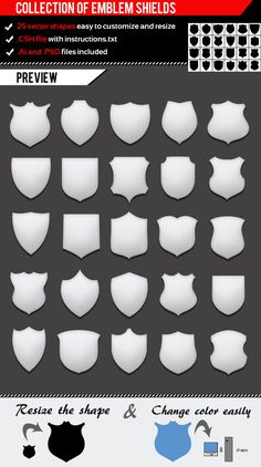 Collection Of Emblem Shields — Layered PSD #medieval #family • Available here → https://graphicriver.net/item/collection-of-emblem-shields/1180492?ref=pxcr
