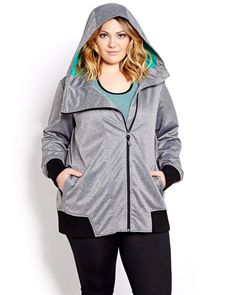 Sporty chic hooded bomber jacket with asymmetric front zip and ribbed trim brings style to all your workouts. Plus size, bonded mesh lining, ribbed cuffs, sides and bottom hem. Thumbhole cuffs. Side pockets. 30 inch length.