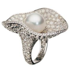 Icy Diamonds also featured in this dazzling de GRISOGONO pearl ring.