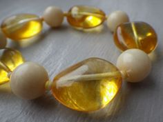 VINTAGE HONEY LIGHT & BUTTER AMBER CHUNKY STRETCH BRACELET #Beaded Stretch Bracelets, Amber, Vintage Jewelry, Honey, Pearl Earrings, Butter, Ebay, Beautiful, Products