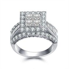 Best Gift NICE Men/'s Princess Cut 4ct White Sapphire 925 Silver Band Ring HOT