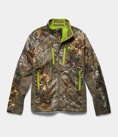 Men's UA Storm Scent Control Softershell Jacket, REALTREE AP-XTRA, Laydown