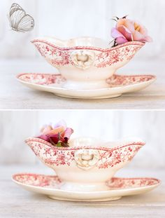 Late 1800s French Ironstone Sauce Boat Pink Transferware
