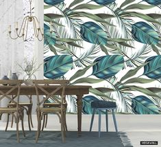 """Create your own Urban Jungle and choose this botanical design called """"Palm Paradise"""", a gorgeous wall-design with beautiful colors! ... we love it!    To be ordered as a single roll or as a complete Mural. Suitable for small & large walls. More information: follow the link.  #behang #wallpaper #wallcovering #mural #bananaleaf #bananaleaves #palmleaf #palmleaves #green #white #interior #green #aqua #blue #diningroom"""
