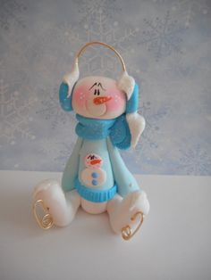 FREE SHIPPING Polymer Clay Snowman Wearing a by ClayBabiesInc