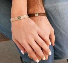 His and Hers Bracelet Personalized Jewelry For Couples Handmade Personalized Bracelet For Couples Set with Stainless Steel Palette By Galis Jewelry Matching Bracelet