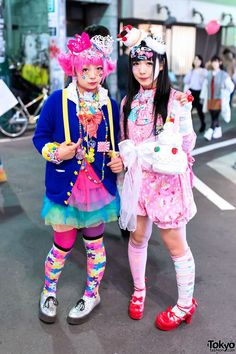 Creamy Sauce & Narumi are two girls helping to keep Japan's decora subculture alive. When we saw them in #Harajuku after dark, they were wearing countless colorful accessories, #6%DOKIDOKI, #HelloKitty, Care Bears, Legos, cake, tiaras & more! Check their pics!