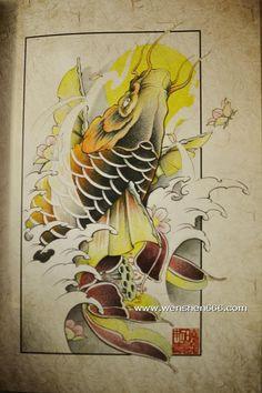 樱花鲤鱼莲花水浪纹身手稿