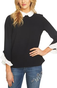 CeCe CeCe Ruffle Cuff Crepe Blouse available at #Nordstrom