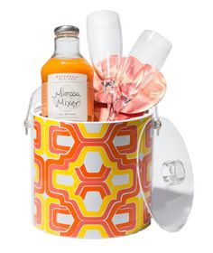 A festive ice bucket perfect for chilling that bottle of bubbly or keeping at hand while mixing drinks - with coaster, drink mixer, flutes.