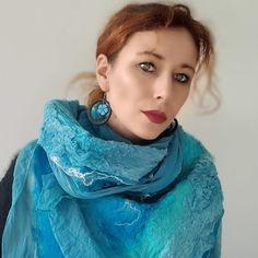 Nuno FELTED SILK SCARF felted shawl.   Etsy