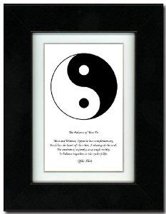 """5x7 Black Satin Frame with Yin Yang (Black/White) with Mat by Oriental Design Gallery. $31.95. Made in USA. Place on Wall or Desk. Easel and hangers included. Wall Hangers must be installed by customer. Instructions included. Frame is made of eco-friendly composite wood materials. Each print is mounted on acid-free mat board by using acid free adhesive. This is a Yin Yang Print with an original Chinese Proverb written by Qiao Xiao. The proberb is entitled """"The Balance of Tiao He""""..."""
