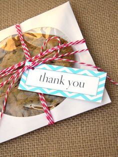 Use a cellophane CD envelope to display homemade cookie favors for your guests.